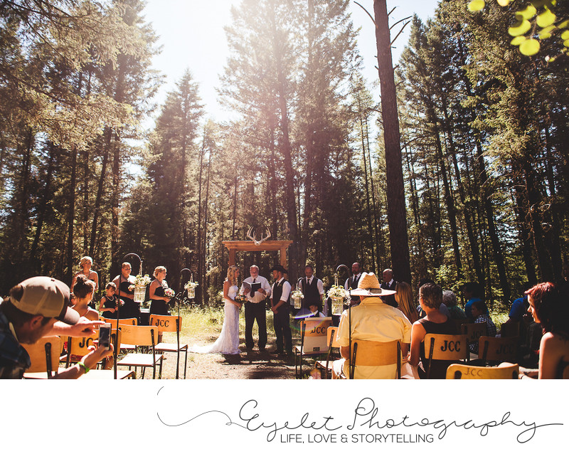 Outdoor Wedding Ceremony Photography Baynes Lake, BC