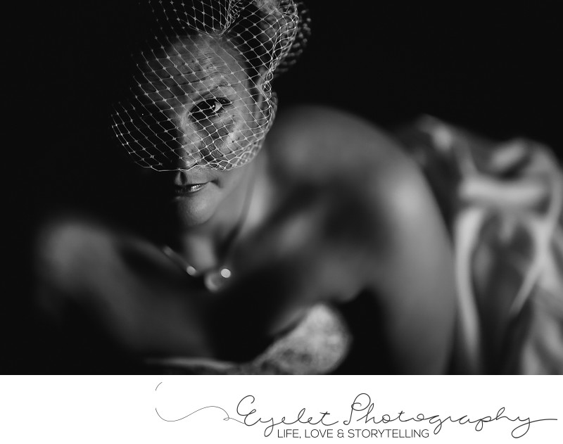 Bride With Birdcage Veil Wedding Photograph Fernie, BC