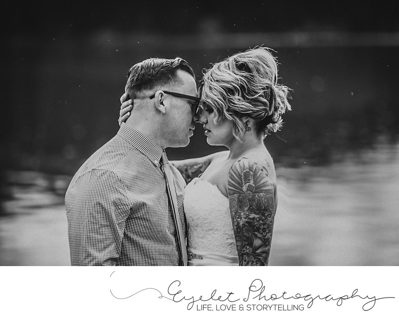 Wedding Photos Crowsnest Pass Lakes, AB Black and White