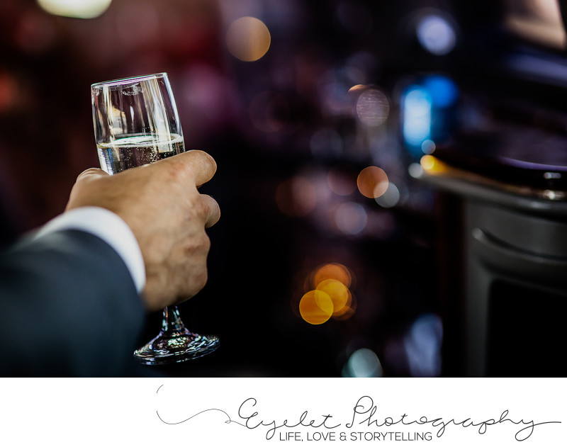 Champagne Toast Glass Detail Wedding Photography