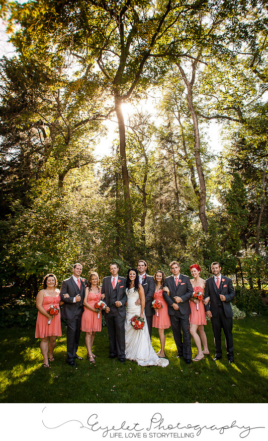 Wedding Party Formal Photos at Sunset with Trees