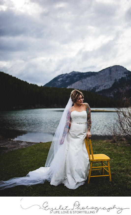 Bride Yellow Chair Wedding Portrait Photos Crowsnest Pass