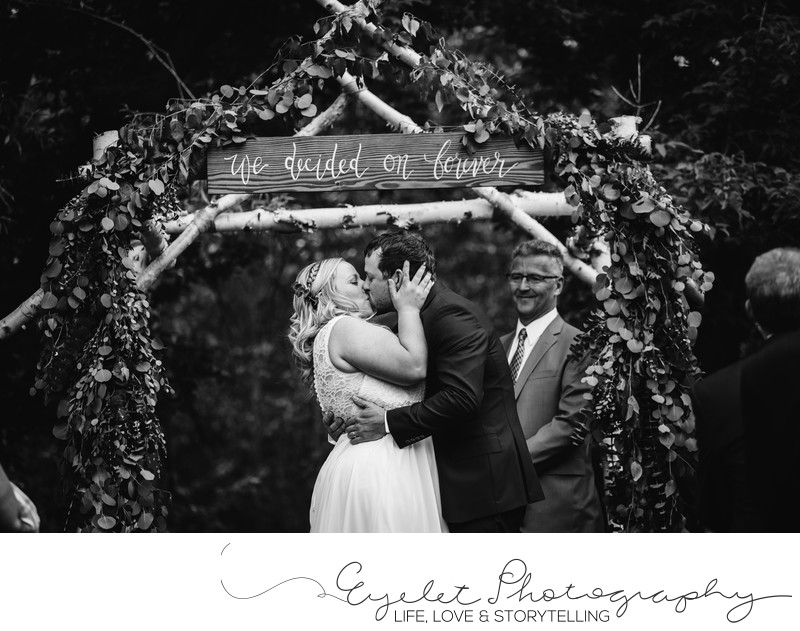 First Kiss Fernie BC Wedding Ceremony Photographer