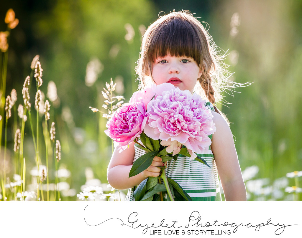 Girl with Peonies at Golden Hour Rocky Mountains