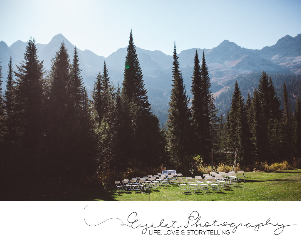 Wedding Ceremony Island Lake Lodge Fernie Mountains