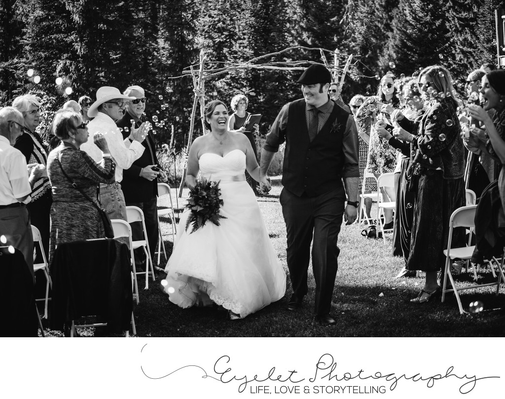 Fernie Island Lake Lodge Front Lawn Wedding Ceremony