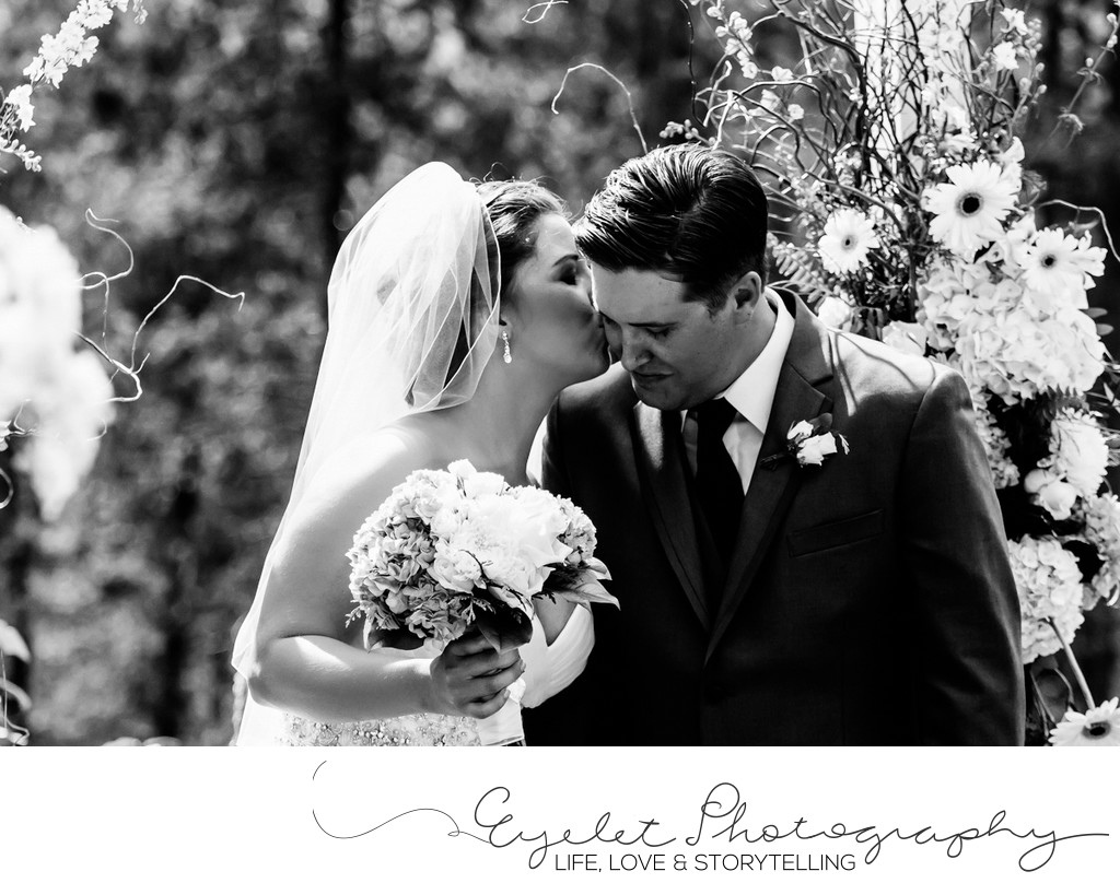 Bride Kisses Groom Fernie Wedding Photos Elk View Lodge