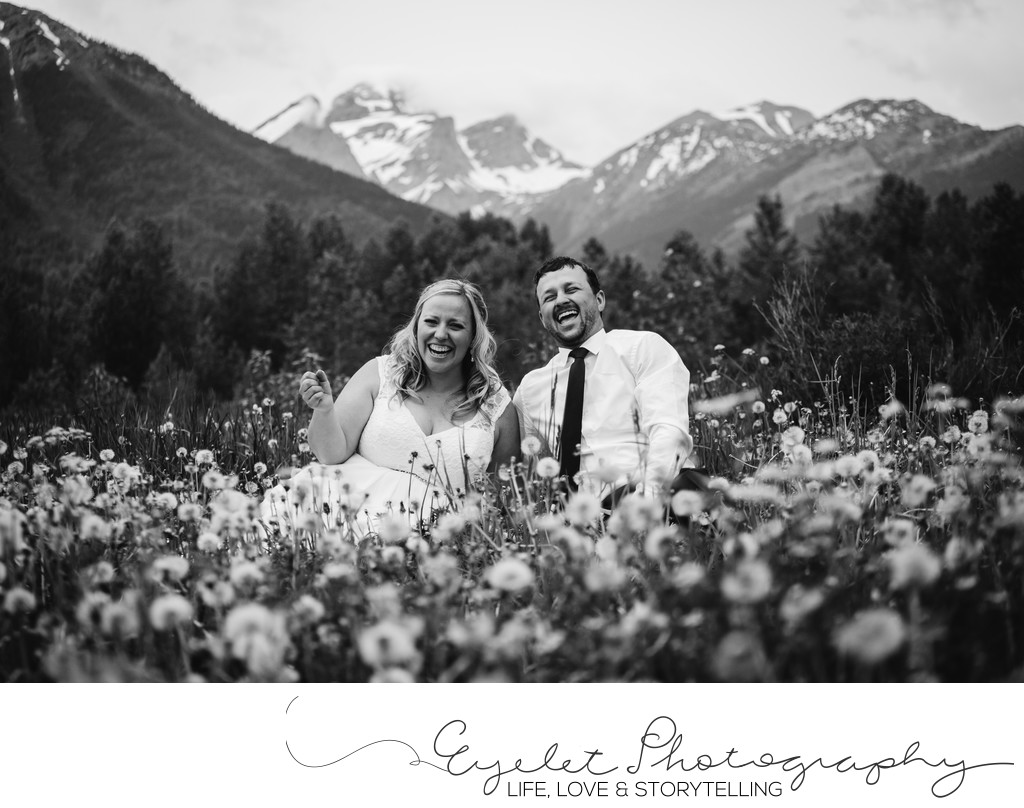 Three Sisters Fernie BC Wedding Photography with Flowers