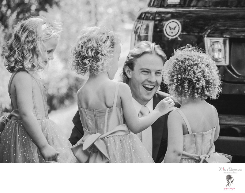 FLOWER GIRLS LAUGH WITH GROOMSMAN! - A NONANTUM WEDDING