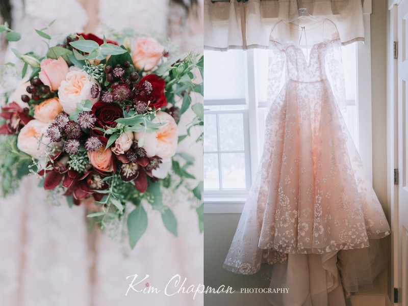Maine Weddings Dress and Bouquet