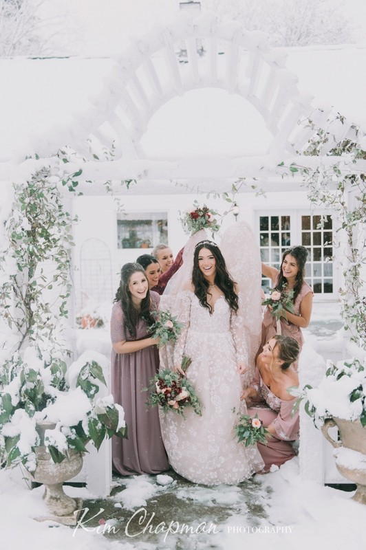 Bride and Bridesmaids in Snow at Hardy Farm