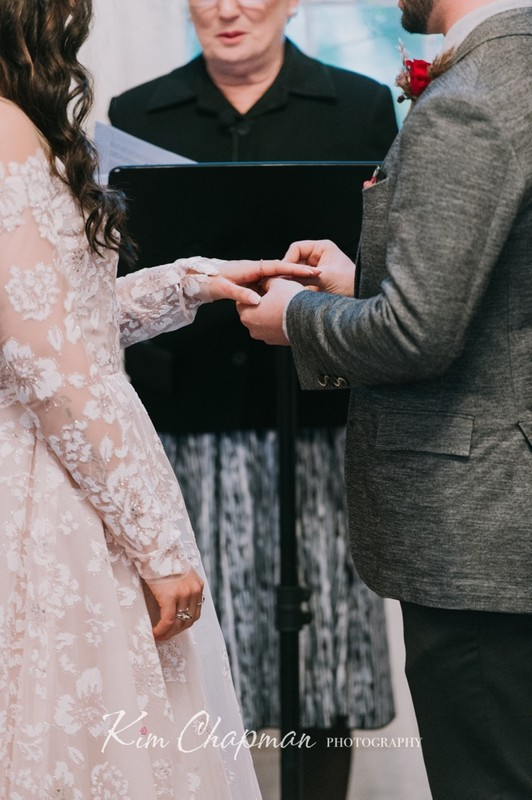 Ring Exchange at Winter Barn Wedding