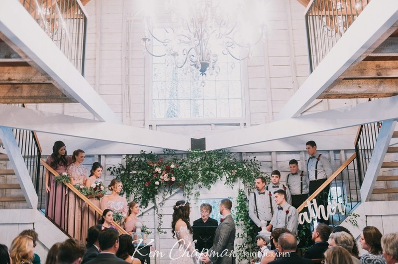 Ceremony on Staircase at Hardy Farm