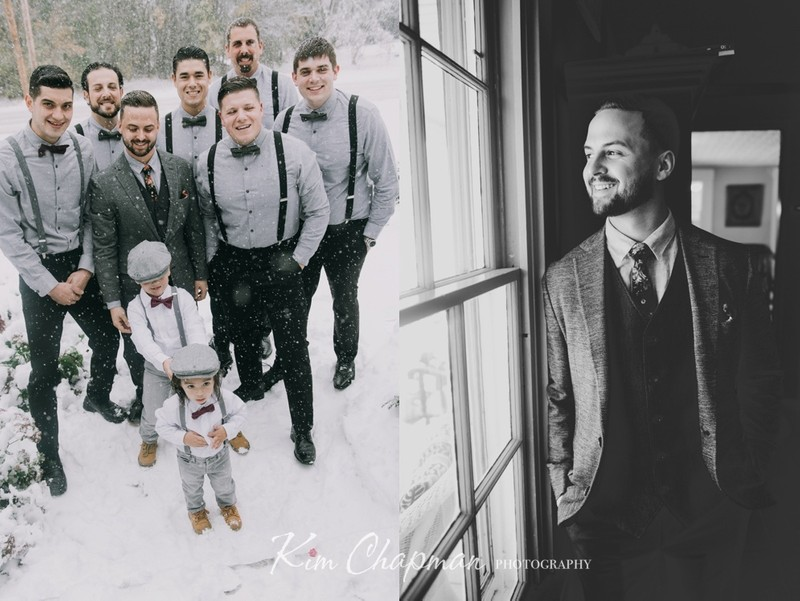 Groom and Groomsmen at Barn Wedding