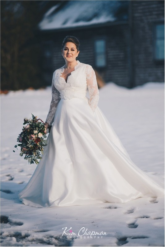 Bridal Portrait in the Snow - Maine Weddings