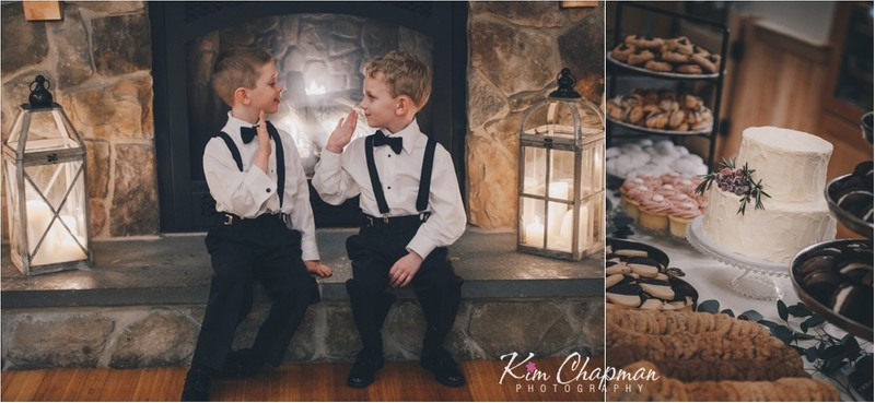 Ring Bearers High Fiver at Red Barn Wedding