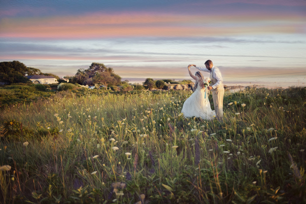 Nonantum Sunset Wedding Photo