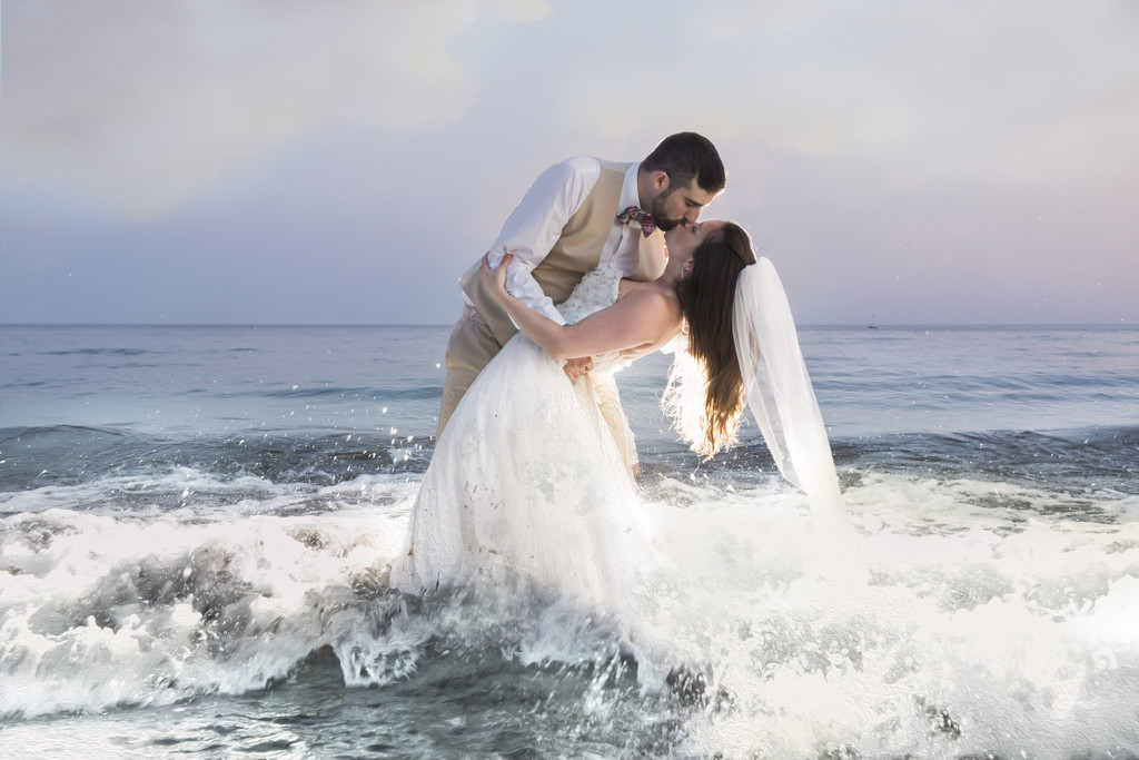 Nonantum Wedding Couple in the Ocean