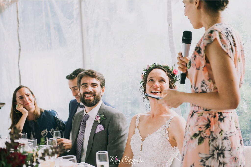 Maid of Honor Toast at Maine Tent Wedding
