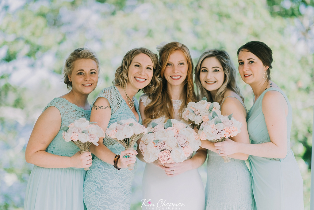 Bride and Bridesmaids at Maine Boho Wedding