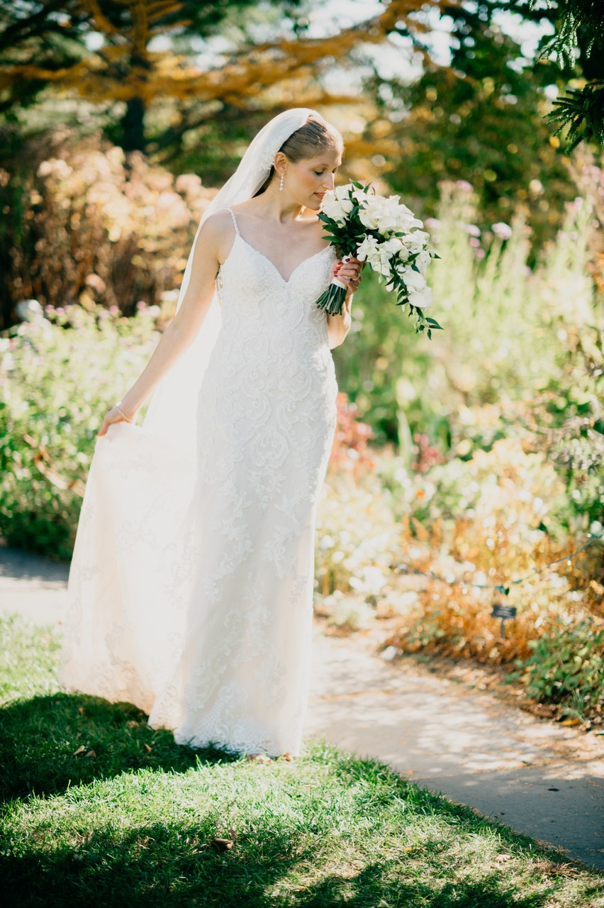 Beautiful bride at Tower Hill Botanical Garden wedding