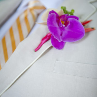 Orchid Boutonniere Beach Wedding