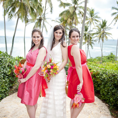 Bride with Bridesmaids at the Dominican Republic
