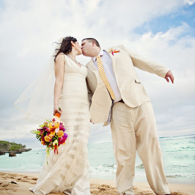 Bride and Groom Kiss on Dominican Beach