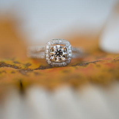 A gorgeous wedding right photographed on a fall leaf