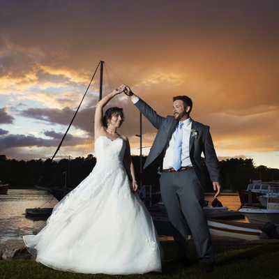 Nonantum Wedding Photographer captures sunset. Maine Wedding