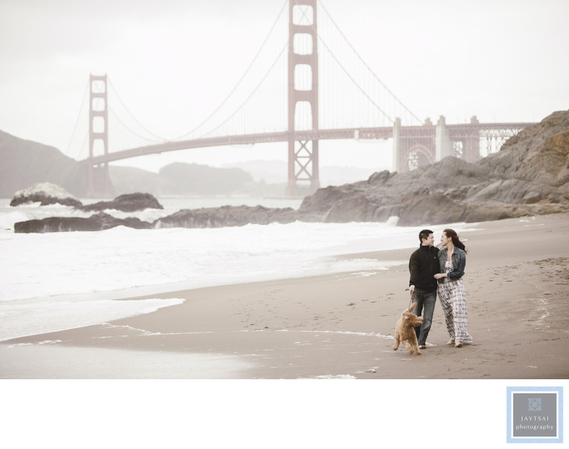 Golden Gate Bridge Engagement with Dog Photographer
