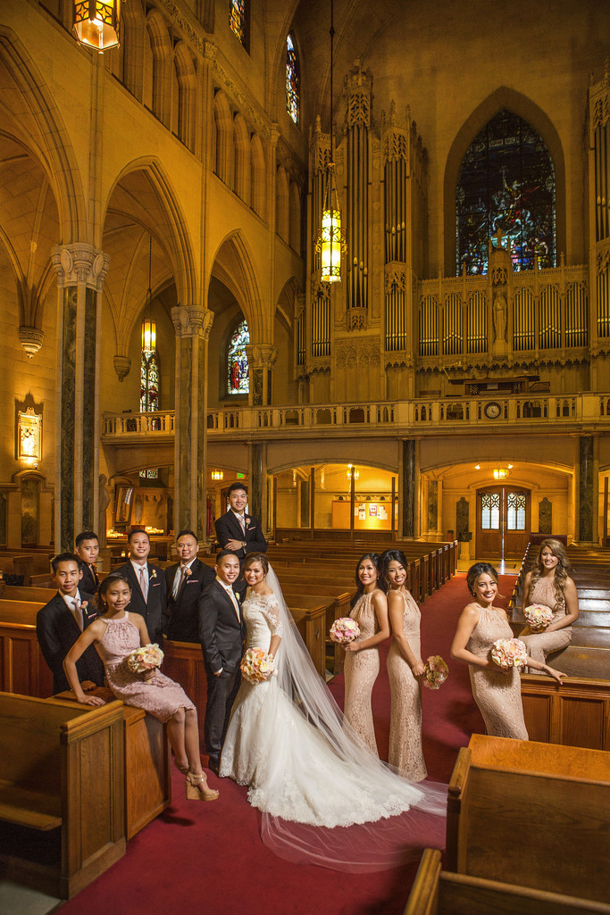 Bridal Party Wedding Portrait St Patrick Church SF