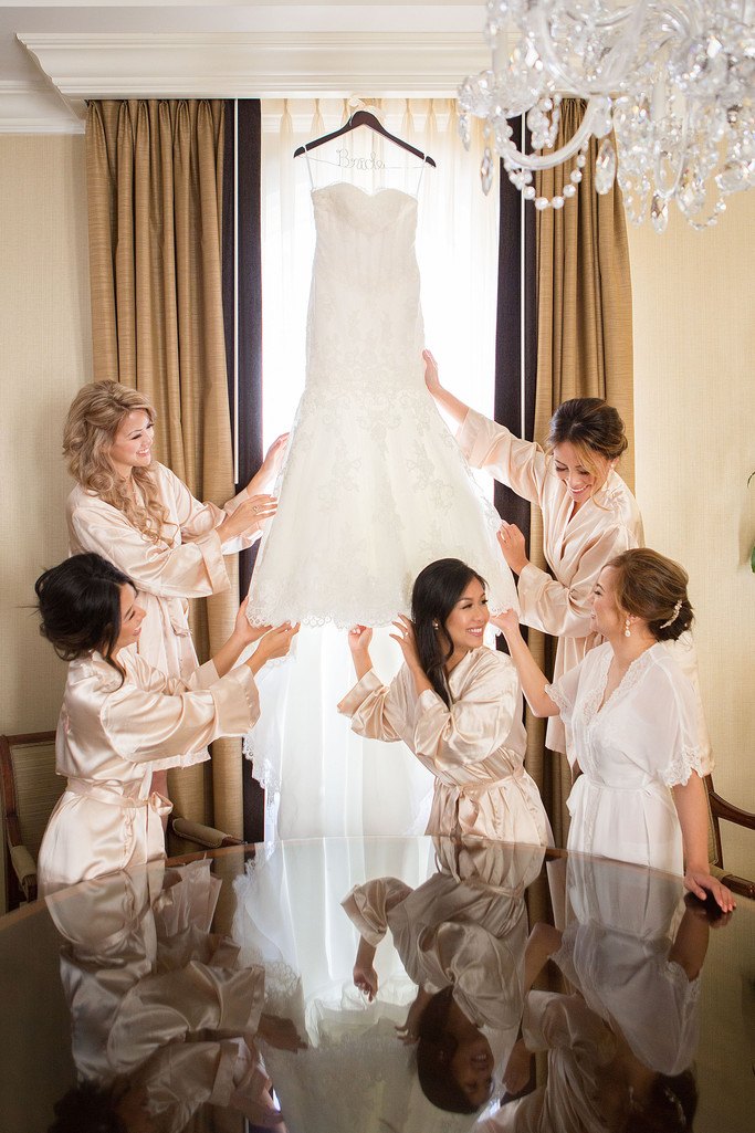 Bride Bridal Party Admiring Wedding Dress Omni SF