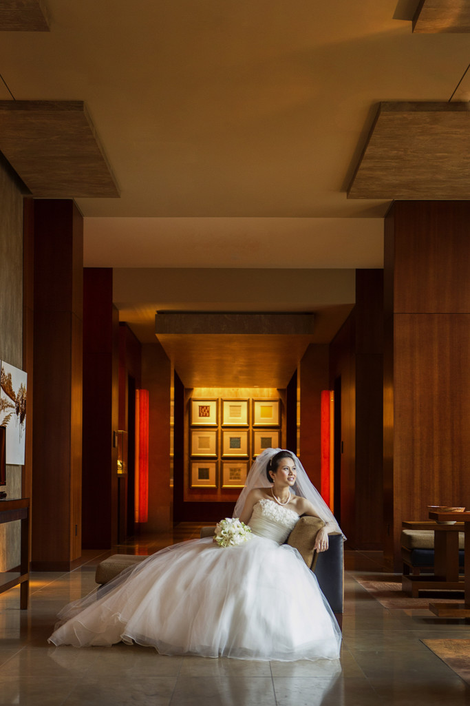 Four Seasons Palo Alto Wedding Bride Alone Portrait