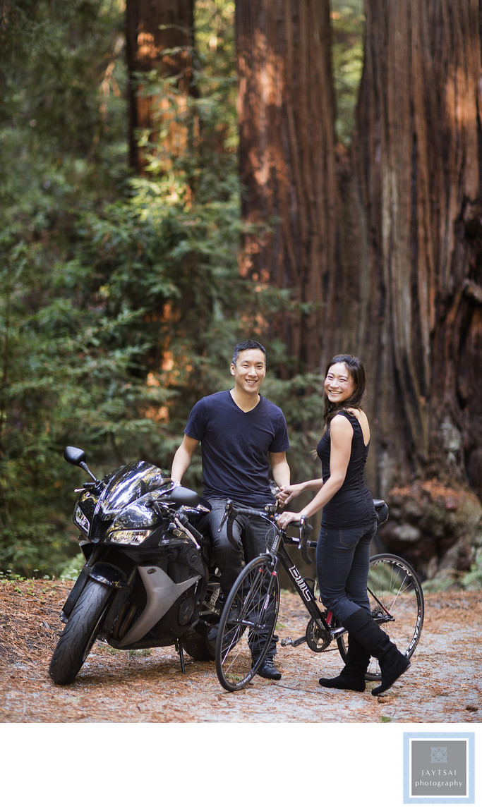 Redwood Forest Motorcycle Engagement Photographer