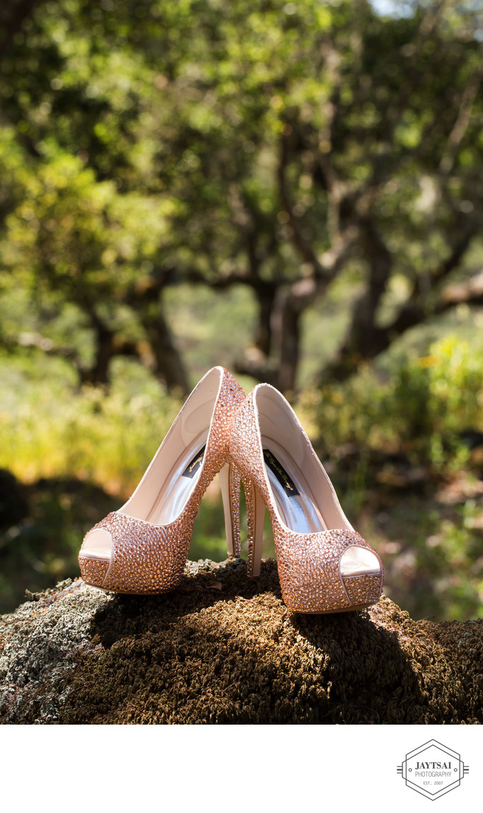 Pink studded wedding shoes, Napa