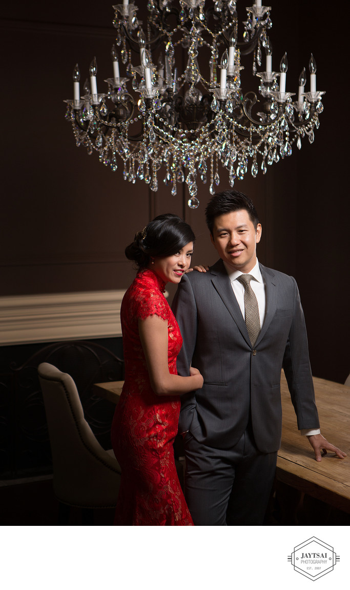 Glamour Studio Wedding Portrait - Bride and Groom