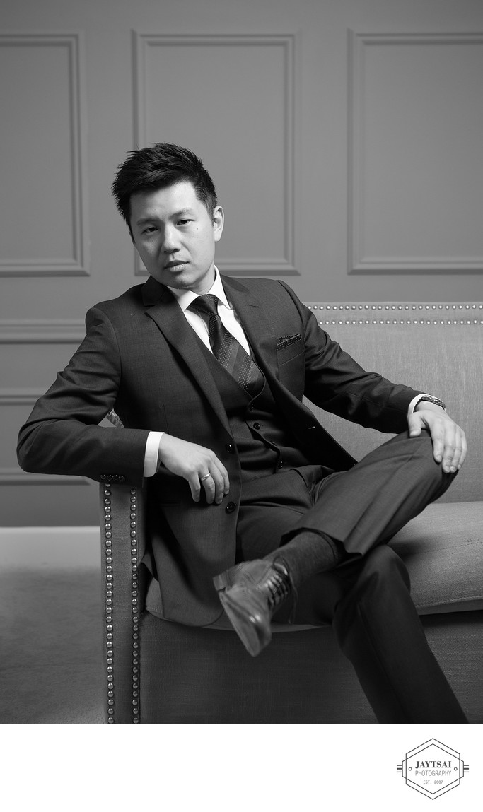 Fashion Studio Wedding Portrait - Groom Alone