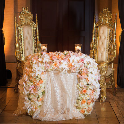 Sweetheart Table Full Table Floral Arrangement
