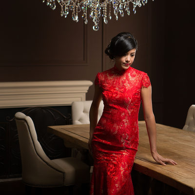 Couture Vintage Studio Wedding Portrait - Chinese Qi Pao