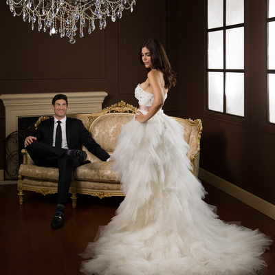 Couture wedding couple portrait