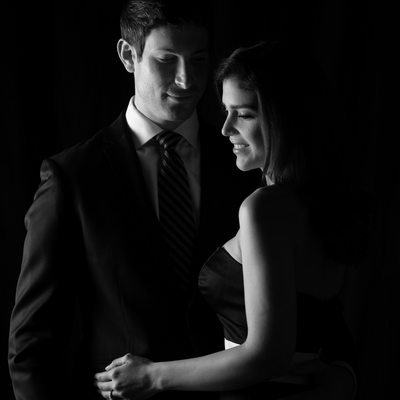 couture wedding couple black and white portrait
