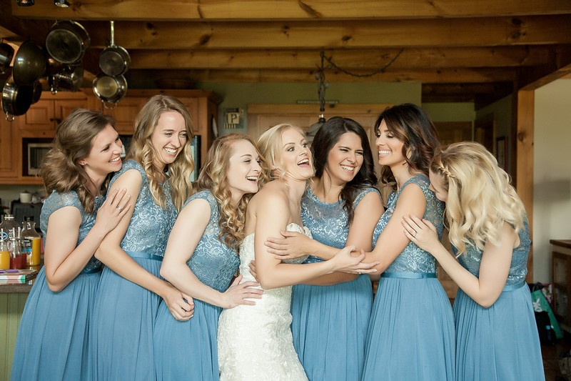 Bridesmaids having fun before the wedding