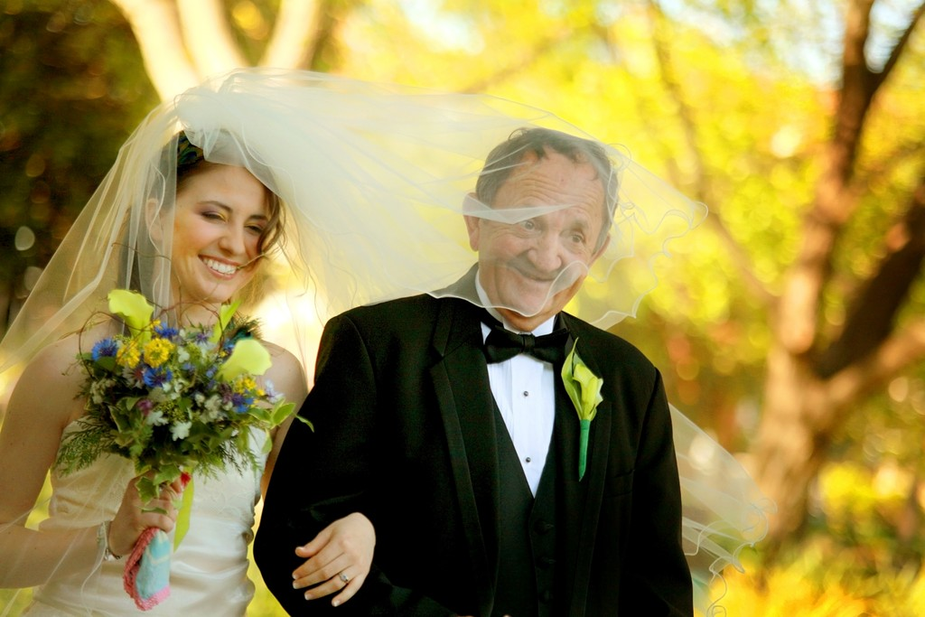 Funny wedding bride grandpa under veil Greenville, SC