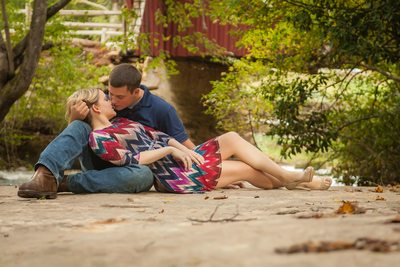 Campbells covered bridge is heaven for a picnic themed engagement  session
