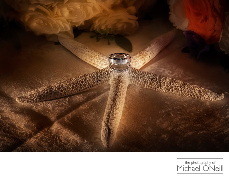 Wedding Rings Starfish Theme Detail Photograph LI