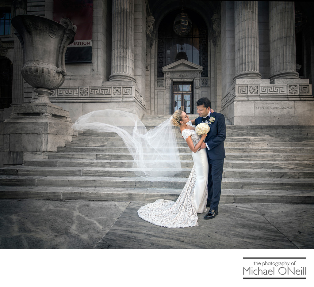 NYC Library Wedding Veil Blowing in the Wind Photo