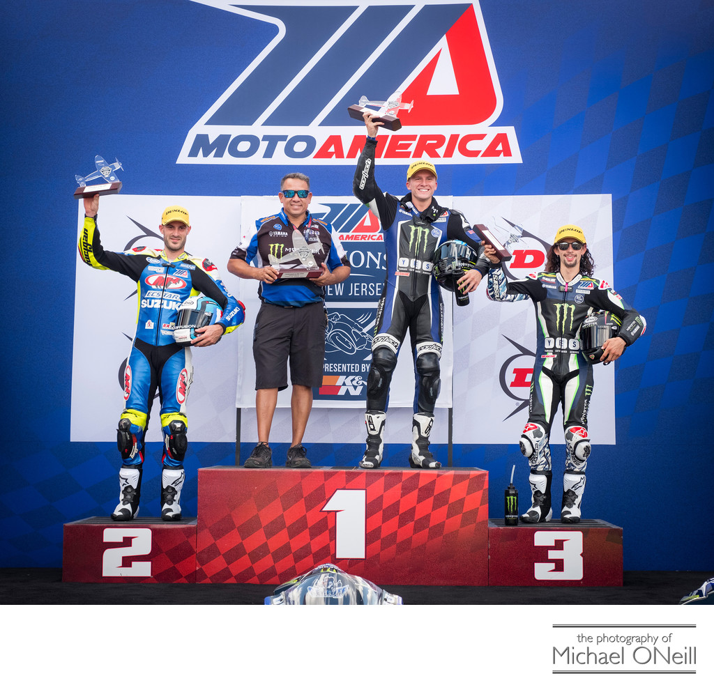 MotoAmerica Supersport 600 Podium NJMP Gerloff Debise Beach