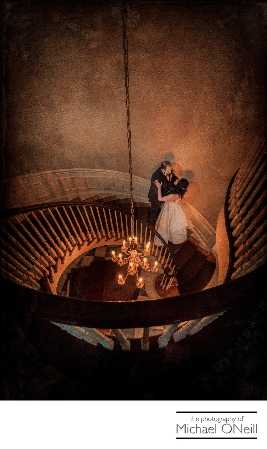 Royalton Mansion Spiral Staircase Wedding Photo LI