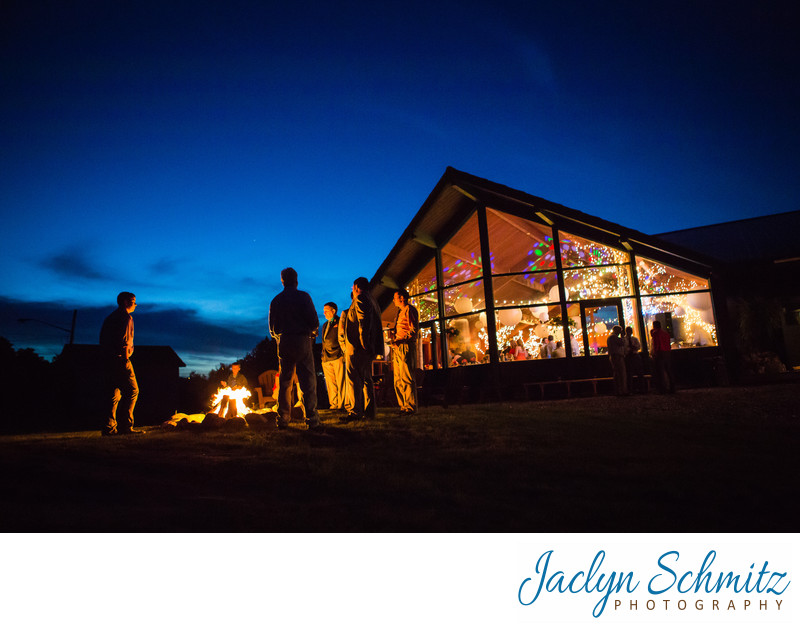 Tupper Lake Ski Lodge wedding lit up at night